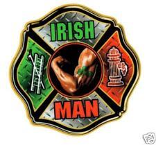 "IRISH MAN Fire Dept. MALTESE CROSS 2"" x 2""  REFLECTIVE Full Color DECAL"