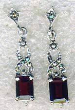 """925 Sterling Silver Marcasite & Garnet Drop / Dangle Earrings   Length 1.1/4"""""""