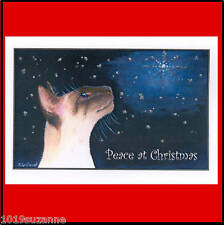 6 SIAMESE CAT ART GLITTER CHRISTMAS CARDS FROM ORIGINAL PAINTING SUZANNE LE GOOD