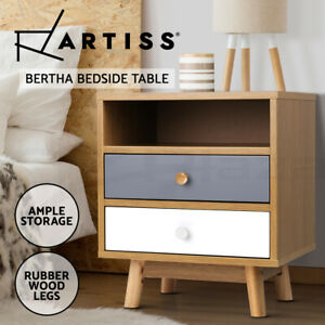 Artiss Bedside Tables Side Table 2 Drawers Nightstand Bedroom Cabinet Wood