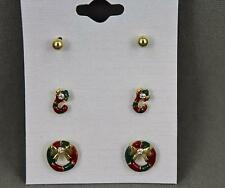 Wreath Stocking ball Christmas holiday post stud earrings jewelry winter