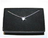 Bezel Diamond Alternatives Pendant Necklace 14k White Gold over 925 SS 16 Inch