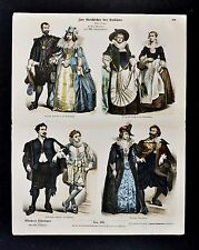 1880 Braun Costume Print 17th c. Dutch Dress Nobility Artist Page Netherlands