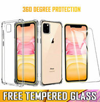 For Apple iPhone 11 Pro Max Clear Case Shockproof Cover & Glass Screen Protector