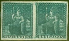 Barbados 1852 Slate-Blue Unissued SG5a Fine Mtd Mint Pair