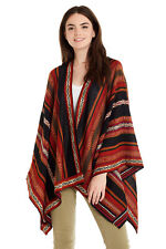 Invisible World 100% Alpaca Wool Ruana Hand Loomed Multicolor Knitted Potosi