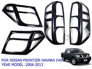 Set Black Gloss Head Tail Light Lamp Cover For Nissan Navara D40 2005 - 2013