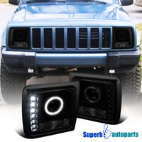 For Jeep Cherokee 1997-2001 Black Smoke SMD LED DRL Halo Projector Headlights