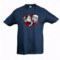 Dalmatians in a Heart Kids Dog-Themed Tshirt Childrens Tee Xmas Gift Birthday