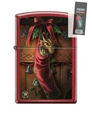 Zippo 2424 Anne Stokes Dragon in Stocking Candy Apple Red Lighter + FLINT PACK