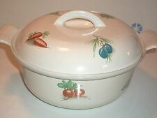 VINTAGE DESCOWARE BELGIUM 2-Qt. CAST IRON ENAMEL POT w/LID VEGETABLE MEDLEY NICE