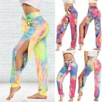 Womens High Waist Yoga Wide Leg Loose Pants With Side Slits Running Gym Joggers