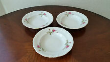 Vintage Wawel Poland Moss Rose China Dinnerware Set Of 3 Soup Bowls