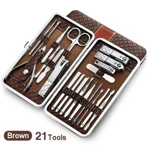 21 pcs Manicure Set kit Utility Nail Clipper Stainless steel Nail Care Tool Sets