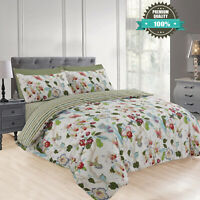 Duvet Cover Quilted Bedding Set Floral Cotton Single Bed Throw With Pillow Case