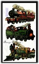 Vintage Gifted Line Merry Christmas Wishes Train Holidays Stickers Grossman John