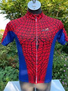 G-Like SuperHero Spiderman Short sleeve Cycling Jersey Full zip Medium Used Once