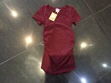 NWT Juicy Couture New & Genuine Ladies Small Burgundy Cotton Maternity T-Shirt