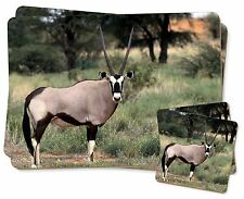Africa Animals 'Oryx' Twin 2x Placemats+2x Coasters Set in Gift Box, GAZ-1PC