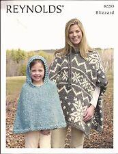 Snowflake Poncho & Child's Poncho Reynolds Knitting Pattern #82265 Blizzard