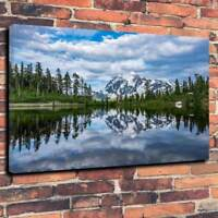 """Tranquil Winter Lake Scene Printed Box Canvas Picture A1.30""""x20"""" 30mm Deep Frame"""