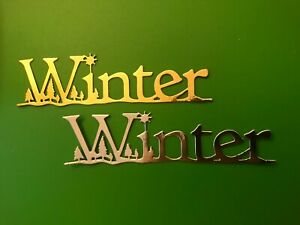 """6 Xmas """"Winter"""" word Metallic Silver or Gold Shapes Yule Card Making Toppers"""