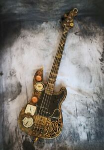 Basso elettrico STEAMPUNK BASS 4 CORDE (Precision Bass) + Stand Custom STEAMPUNK