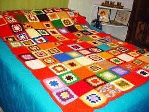 """Vtg Granny Square Crochet Afghan Lap Blanket 40 x 50"""" Handmade Orange Quick Ship"""