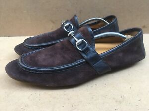 Gucci Moca Pelle S Gomma Brown Horsebit Moc Loafers 203401 Size UK 12.5 USA 13