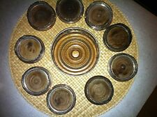 VINTAGE SILVER PLATED PIERCED WOOD 9  WINE COASTER's with bottle coaster