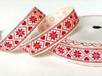 Christmas Ribbon - Red Scandinavian Snowflake on 16mm Ivory Grosgrain Ribbon