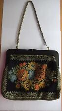 New listing Lovely Vintage Women's Handbag Floral Embroidered Chain Handle Great Condition