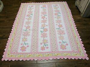 """Cottage Patchwork Quilt Applique Floral Cotton Pink Twin  72"""" x 88"""""""