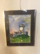 Water Color Lighthouse On Hill. Signed Edward McEvoy..C8pics4size/etc.MAKE OFFER