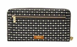 FOSSIL Logan RFID Zip Around Clutch Geldbörse Black Stripe Schwarz Weiß Neu