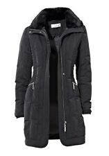 Parka Steppjacke mit Pelz am Kragen Damenjacke von Linea Tesini Gr.38 schwarz