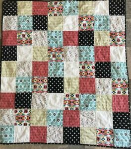 New baby quilt - coral, teal, black, pink, aztec