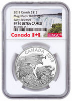 2018 Magnificent Bald Eagles 1 oz Silver $15 NGC PF70 ER SKU53483