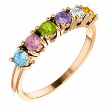 Birthstone Ring 14kt Yellow Gold / White Gold or Rose Gold Six Birthstones Gems