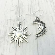 Sun & Moon Earrings Crescent Moon Celestial Pagan Wiccan Asymetrical Odd