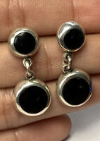 Vtg Taxco Mexico Sterling Silver 950 Round Onyx Inlay Drop Dangle Earrings B111