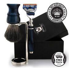 Five Edge Blade Luxury Razor and Synthetic Black Badger Brush Men's Shaving Set