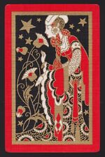 1 Single VINTAGE Swap/Playing Card DECO LADY STARS FLOWERS Gold Gilt Detail