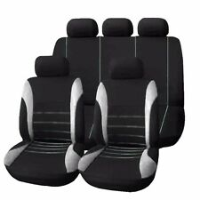 9pcs Car Seat Covers Gray Breathable for 5 Seats Auto w/ Headrest Cover & Hooks
