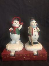 New 2 Christmas Stocking Holders Hanger Poly Resin Snowman Snowmen Glitter Hat