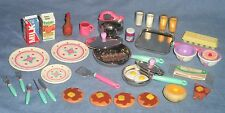 Vtg TYCO Kitchen Littles 37pc Lot Breakfast Food Dishes Pans Bacon Barbie 1:6