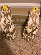 114fb9334918b Michael Kors Girls White Jet Set Print Rubber Flip Flop 1 Vanilla MK Logo