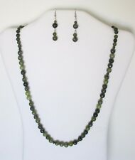 Green African Jasper Natural Graduated Round Beads Strand Necklace Set NWT TAJF
