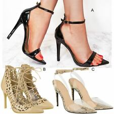 Womens Ladies Barley There High Heels Stilettos Sandals Pointed Court Shoes Size