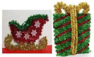 Tinsel Wall Door Hanging Christmas Decorations  set of 2 Sledge & XMas Gift